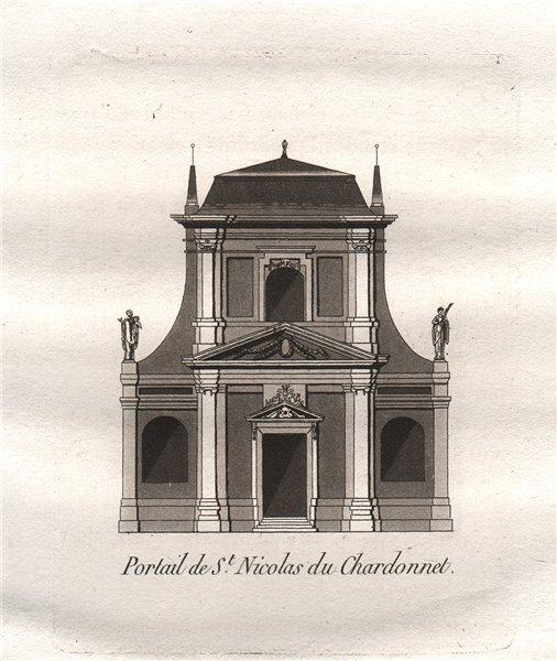 Associate Product PARIS. Portail de Saint-Nicolas du Chardonnet. Aquatint 1808 old antique print