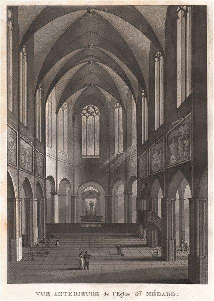 Associate Product PARIS. Eglise Saint-Médard. Aquatint 1808 old antique vintage print picture