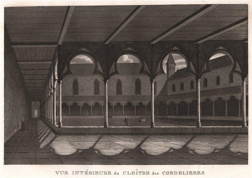 Associate Product PARIS. Cloître des Cordelieres. Aquatint 1808 old antique print picture