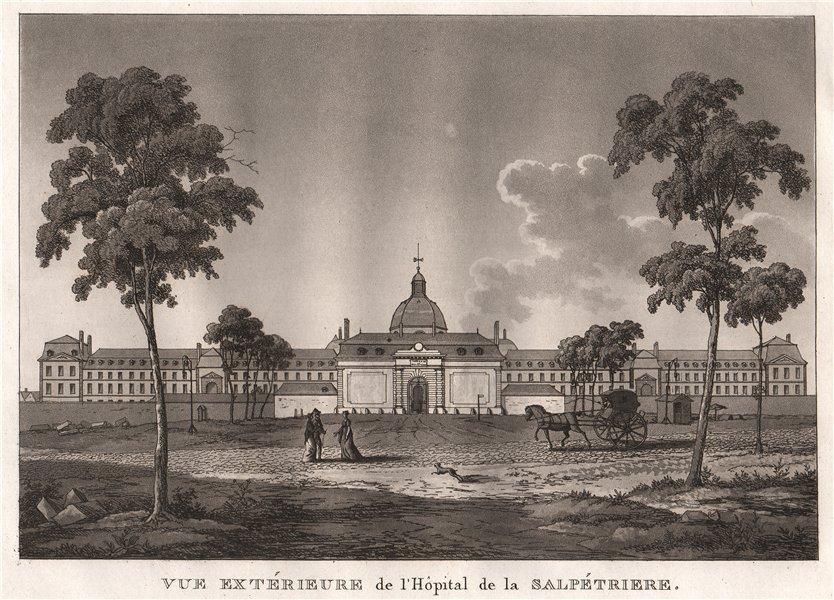Associate Product PARIS. Hôpital de la Salpétriere. Aquatint 1808 old antique print picture