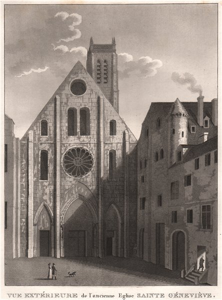 Associate Product PARIS. Ancienne Sainte Géneviève. Aquatint 1808 old antique print picture