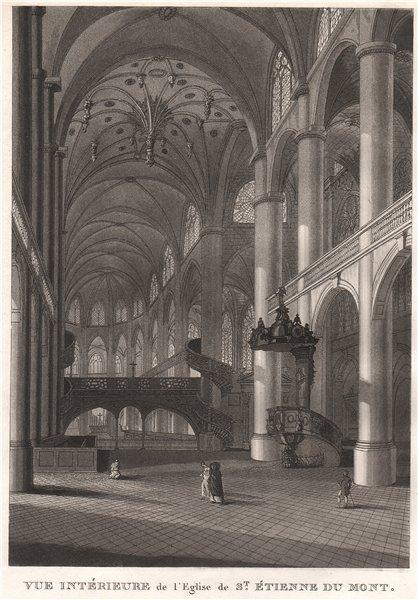 Associate Product PARIS. Eglise de Saint-Étienne du Mont. Intérieure. Aquatint 1808 old print