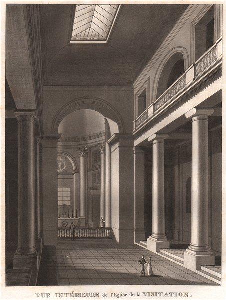 Associate Product PARIS. Eglise de la Visitation. Aquatint 1808 old antique print picture