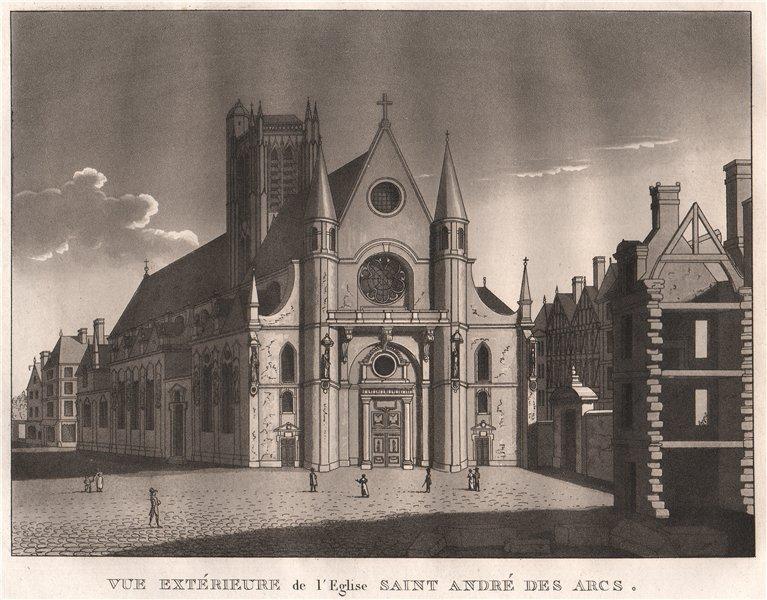 Associate Product PARIS. Eglise Saint-André des Arcs. Aquatint 1808 old antique print picture