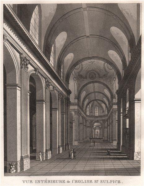 Associate Product PARIS. Eglise Saint-Sulpice. Intérieure. Aquatint 1808 old antique print
