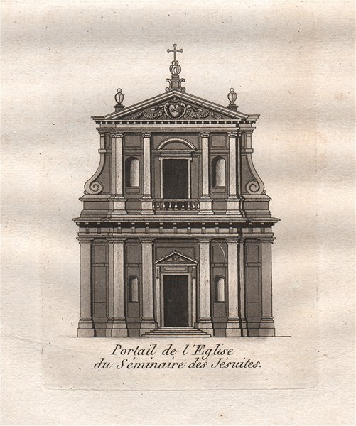 Associate Product PARIS. Portail de L'Eglise du Séminaire des Jésuites. Aquatint 1808 old print