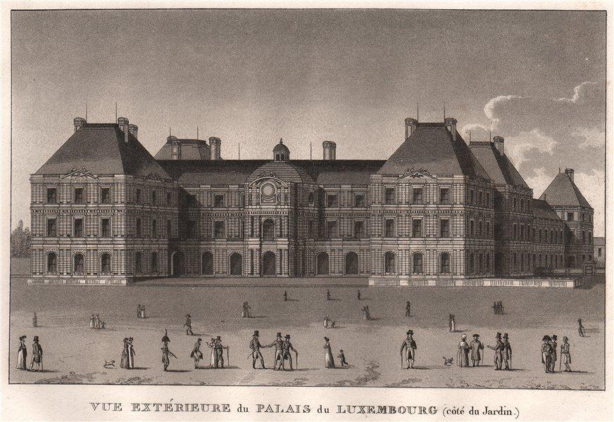 Associate Product PARIS. Palais du Luxembourg (côté du Jardin) . Aquatint 1808 old antique print