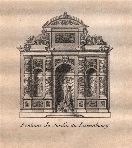 Associate Product PARIS. Fontaine du Jardin du Luxembourg. Aquatint. SMALL 1808 old print