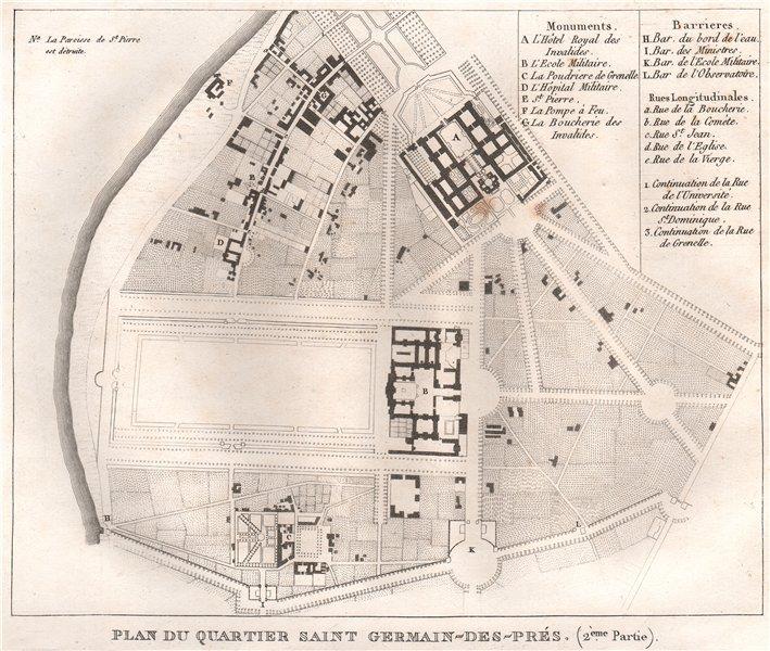 """Associate Product PARIS. """"Saint-Germain-des-Prés"""". Quartier Invalides Champ Mars. 7e 15e 1808 map"""