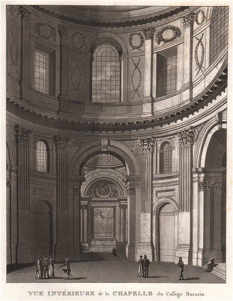 Associate Product PARIS. Chapelle du Collège Mazarin. Aquatint 1808 old antique print picture
