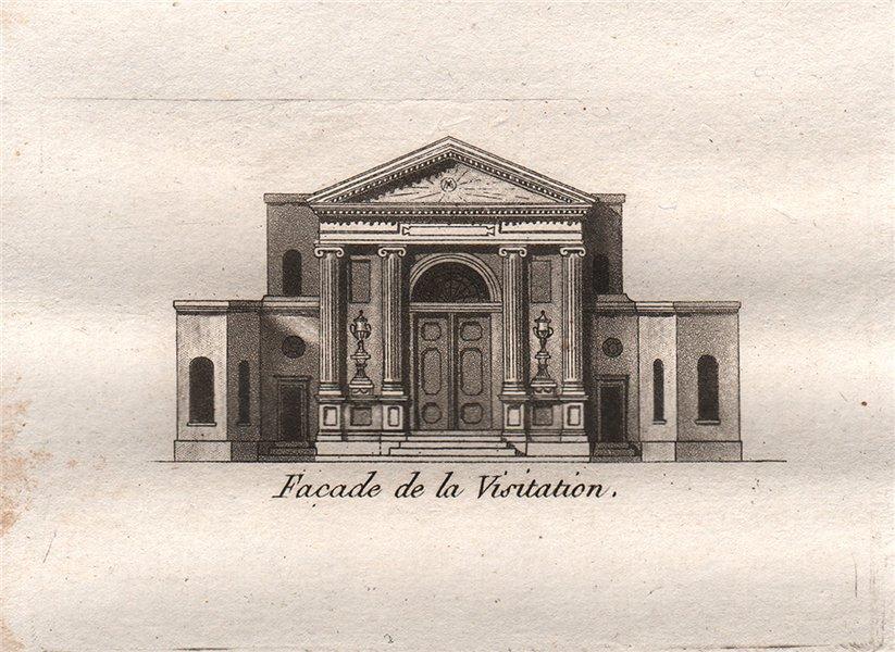 Associate Product PARIS. Facade de la Visitation. Aquatint. SMALL 1808 old antique print picture