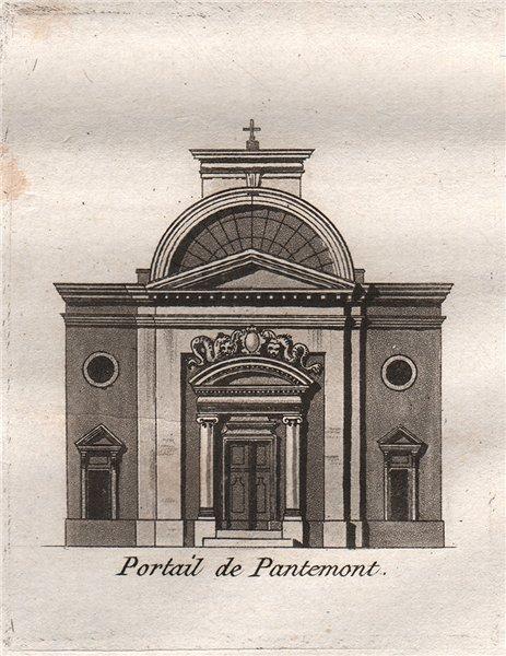PARIS. Portail de Pantemont. Aquatint. SMALL 1808 old antique print picture