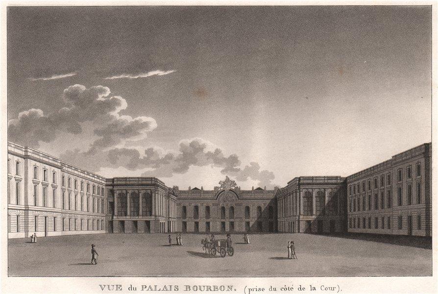 PARIS. Palais Bourbon (prise du côté de la Cour) . Aquatint 1808 old print