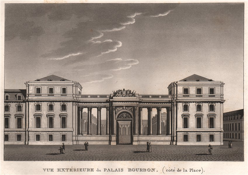 Associate Product PARIS. Palais Bourbon (côté de la Place) . Aquatint 1808 old antique print