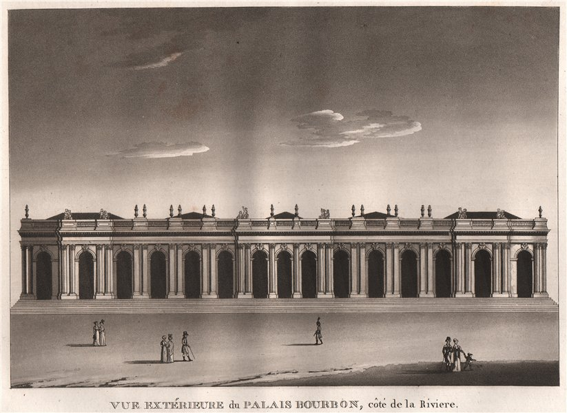 Associate Product PARIS. Palais Bourbon côté de la Riviere. Aquatint 1808 old antique print