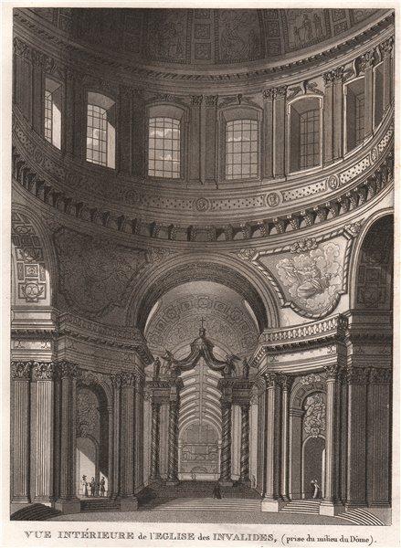 Associate Product PARIS. Eglise des Invalides (prise du inilieu du Dôme) . Aquatint 1808 print
