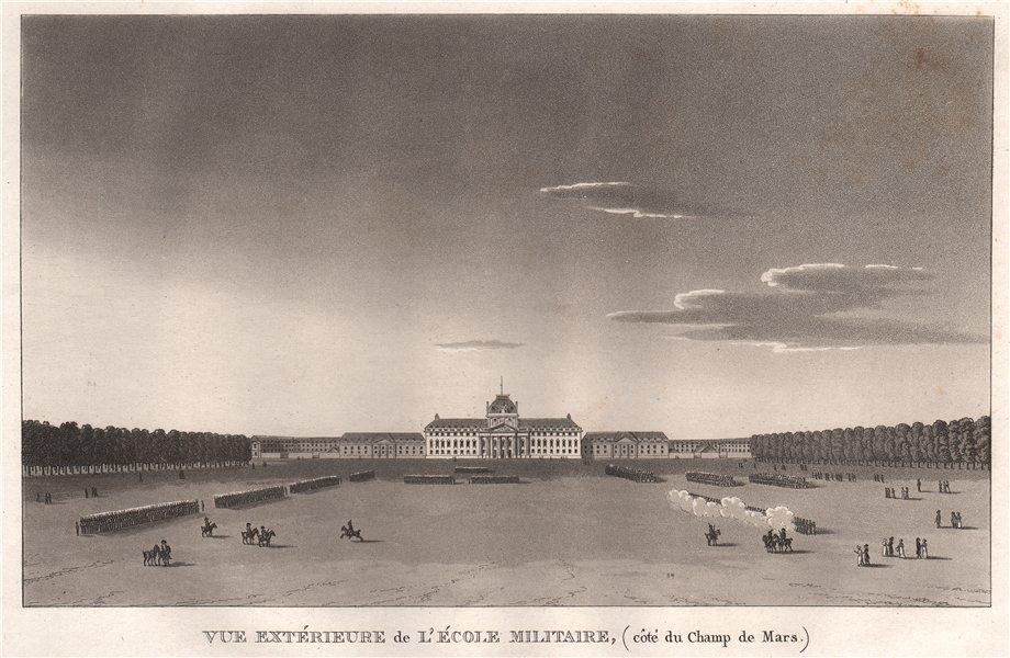 Associate Product PARIS. École Militaire (côté du Champ de Mars) . Aquatint 1808 old print