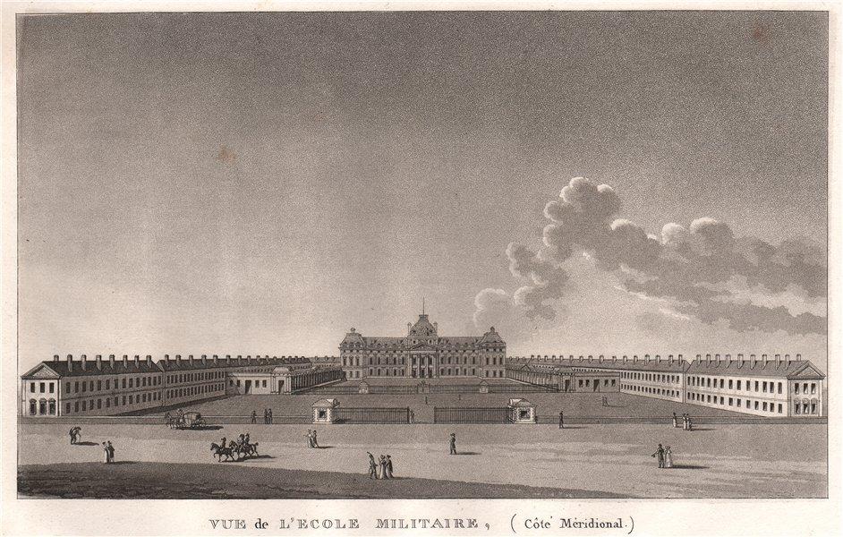 Associate Product PARIS. Ecole Militaire (Côtè Mèridional) . Aquatint 1808 old antique print
