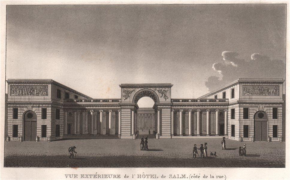 Associate Product PARIS. Hôtel de Salm.  (côte de la rue) . Aquatint 1808 old antique print