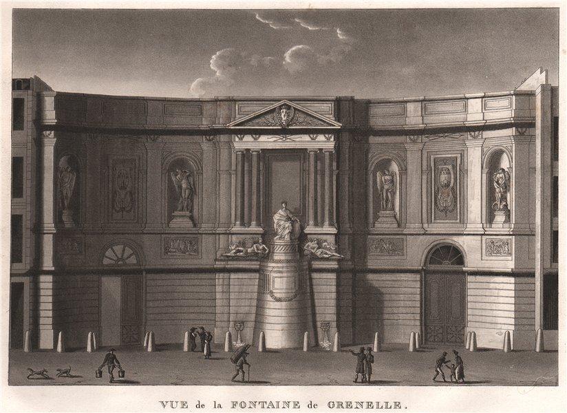 Associate Product PARIS. Fontaine de Grenelle. Fontaine des Quatre-Saisons. Aquatint 1808 print