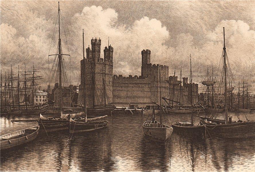 Associate Product CARNARVON CASTLE. Wales 1893 old antique vintage print picture