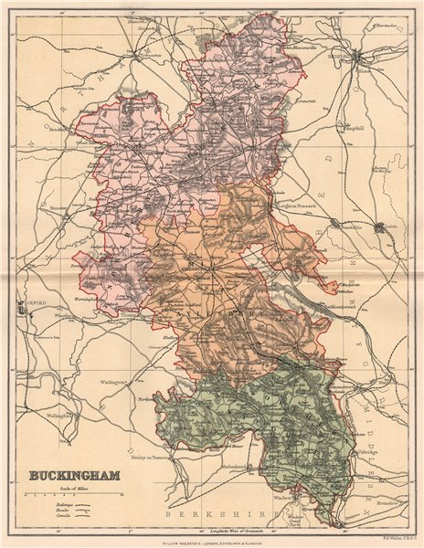 Associate Product BUCKINGHAMSHIRE. Antique county map 1893 old vintage plan chart