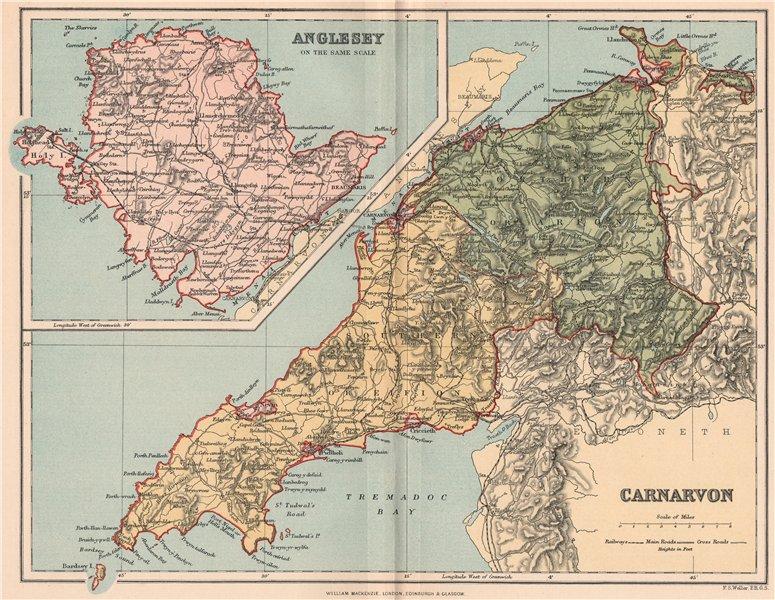 Associate Product CARNARVONSHIRE; INSET MAP OF ANGLESEY. Antique county map. Wales 1893 old