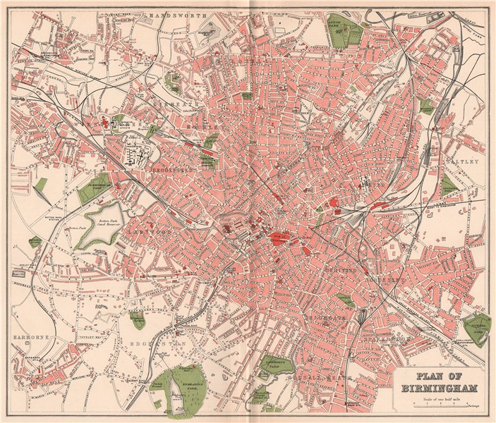 Associate Product BIRMINGHAM. Antique town/city map plan. Warwickshire 1893 old