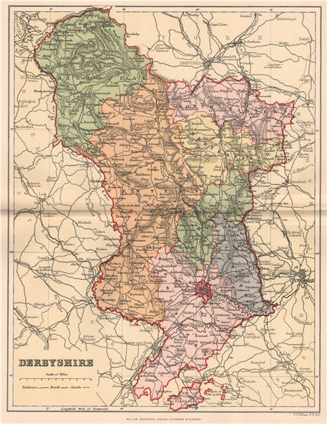 Associate Product DERBYSHIRE . Antique county map 1893 old vintage plan chart