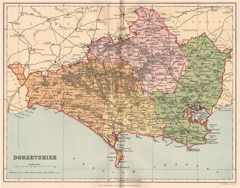 Associate Product DORSETSHIRE. Antique county map 1893 old vintage plan chart