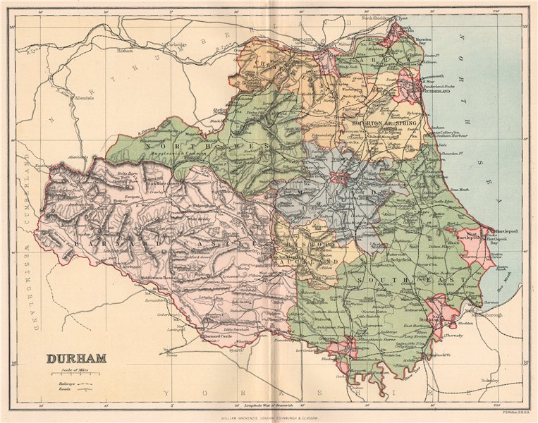 Associate Product DURHAM. Antique county map 1893 old vintage plan chart