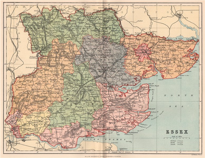 Associate Product ESSEX. Antique county map 1893 old vintage plan chart