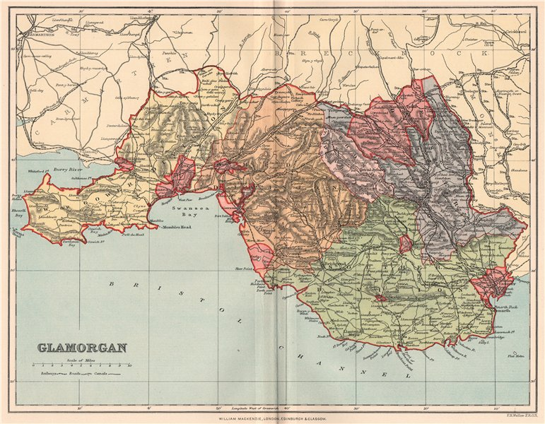 Associate Product GLAMORGANSHIRE. Antique county map. Wales 1893 old plan chart