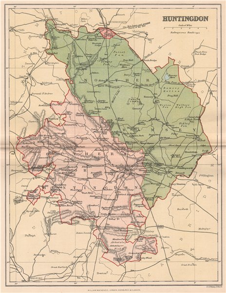 Associate Product HUNTINGDONSHIRE. Antique county map 1893 old vintage plan chart