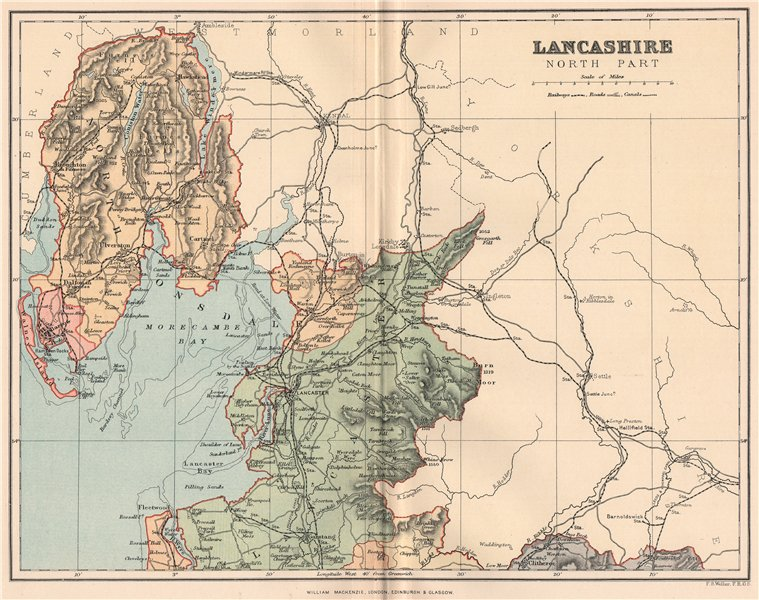 Associate Product LANCASHIRE NORTH PART. Antique county map 1893 old plan chart