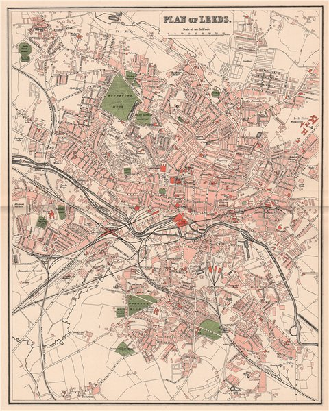 Associate Product LEEDS. Antique town/city map plan. Yorkshire 1893 old chart