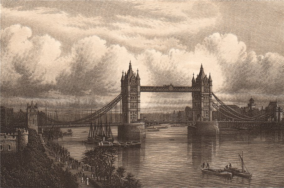 Associate Product THE TOWER BRIDGE. London 1893 old antique vintage print picture