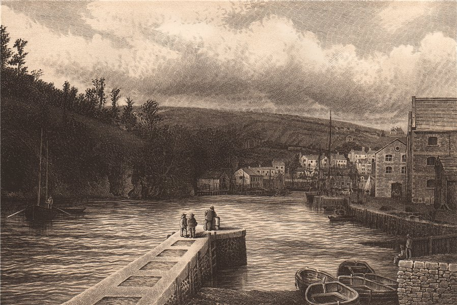 Associate Product LOOE HARBOUR, CORNWALL 1893 old antique vintage print picture