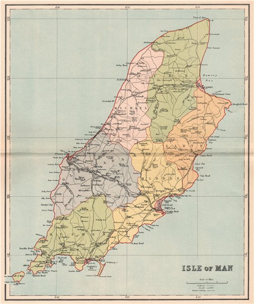 Associate Product ISLE OF MAN. Antique map 1893 old vintage plan chart
