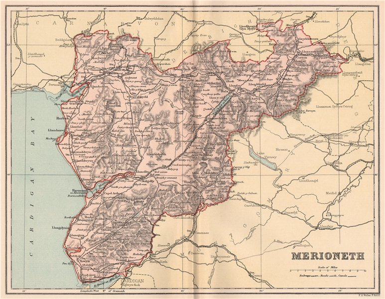 Associate Product MERIONETHSHIRE. Antique county map. Wales 1893 old plan chart
