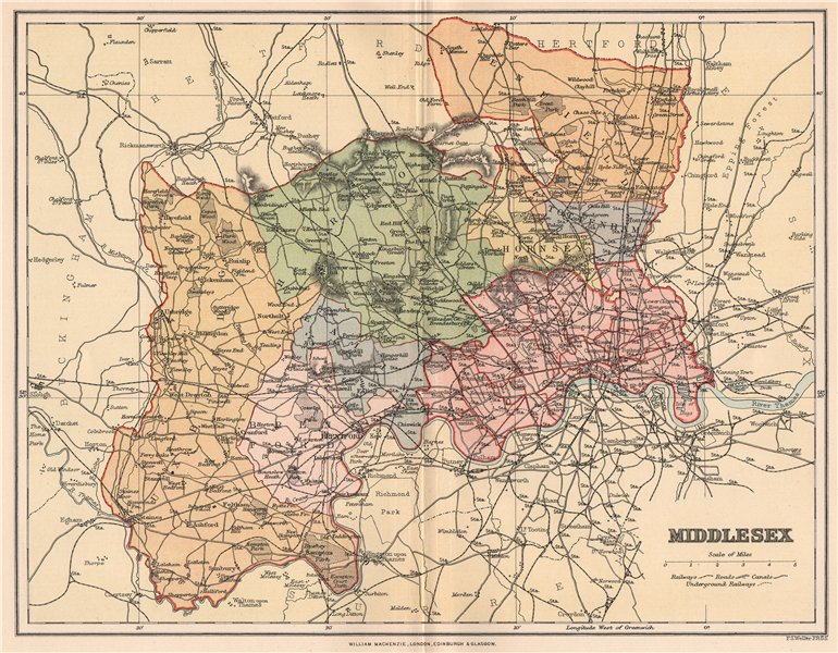 Associate Product MIDDLESEX. Antique county map 1893 old vintage plan chart