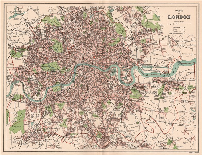 Associate Product COUNTY OF LONDON. Antique town/city map plan 1893 old chart