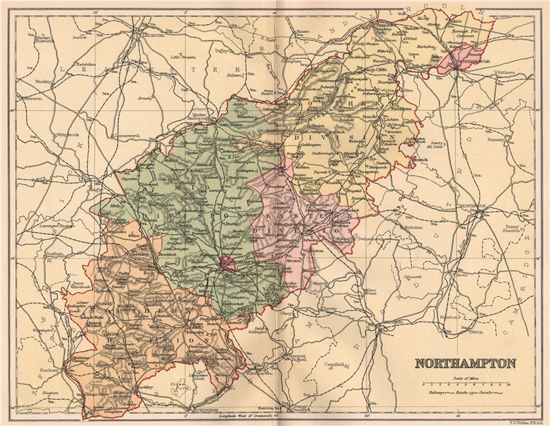 Associate Product NORTHAMPTONSHIRE. Antique county map 1893 old vintage plan chart