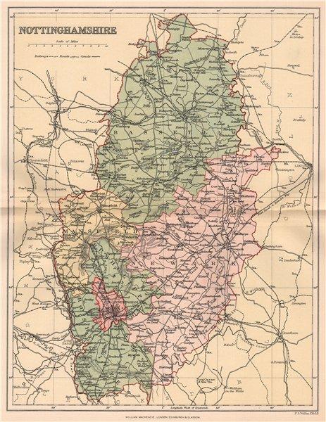Associate Product NOTTINGHAMSHIRE. Antique county map 1893 old vintage plan chart