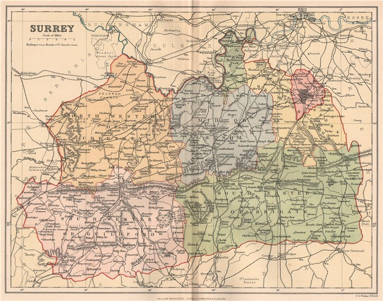 Associate Product SURREY. Antique county map 1893 old vintage plan chart