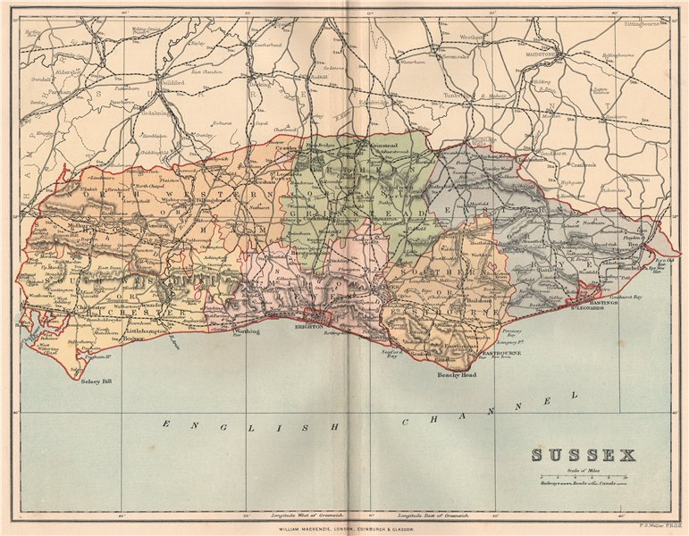 SUSSEX. Antique county map 1893 old vintage plan chart