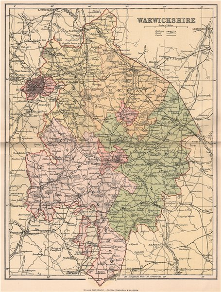 Antique county map 1893 old vintage plan chart WARWICKSHIRE