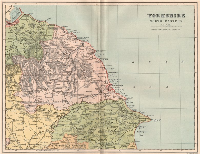 Associate Product YORKSHIRE NORTH EAST. Antique county map 1893 old plan chart