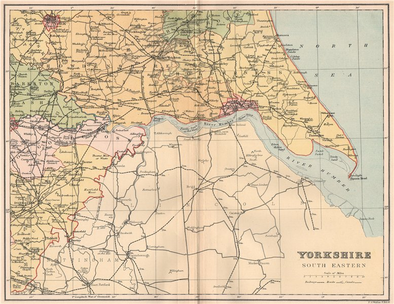 Associate Product YORKSHIRE SOUTH EAST. Antique county map 1893 old plan chart