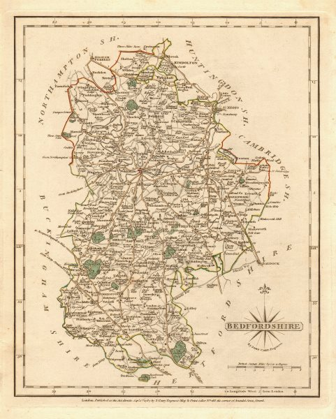 Associate Product Antique county map of BEDFORDSHIRE by JOHN CARY. Original outline colour 1787
